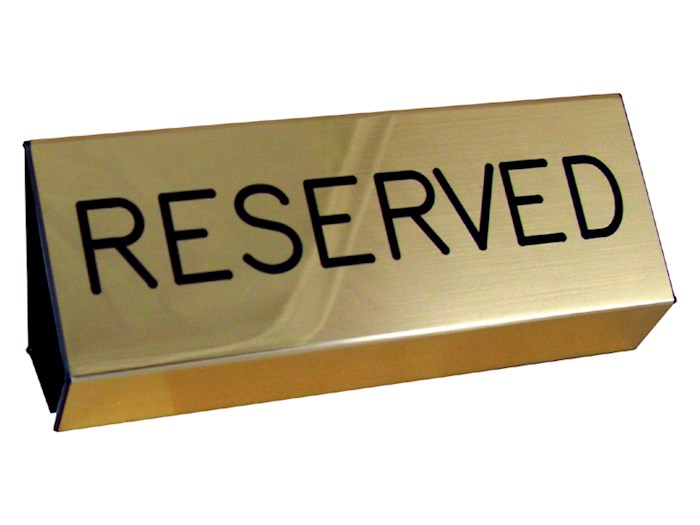 Sign-Reserved Pew-Brushed Gold (3X6) | SHOPtheWORD
