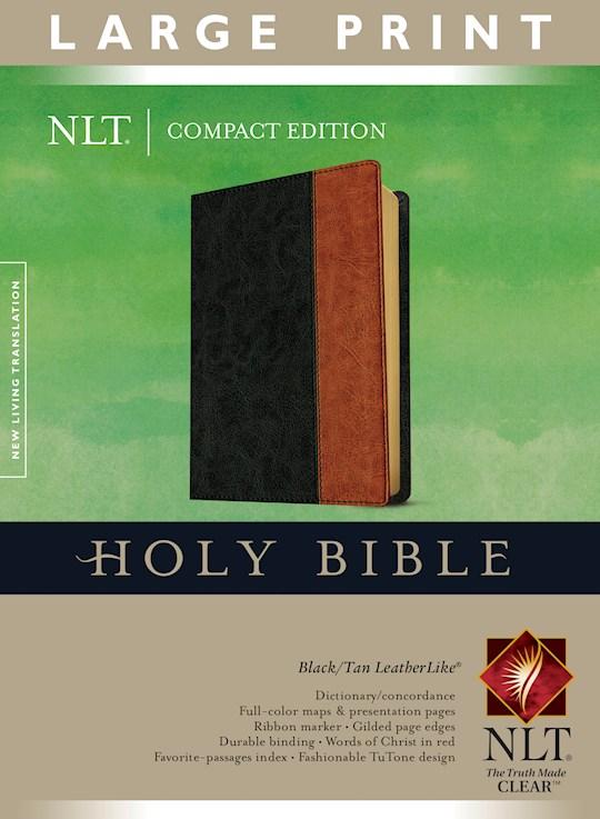 NLT Compact Edition Bible/Large Print-Black/Tan TuTone | SHOPtheWORD