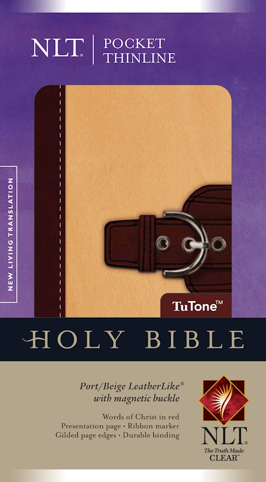 NLT Pocket Thinline Bible W/Magnetic Flap-Port/Beige TuTone | SHOPtheWORD