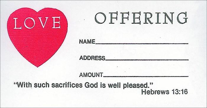 Offering Envelope-Love Offering (Hebrews 13:16) (Bill-Size) (Pack Of 100) | SHOPtheWORD
