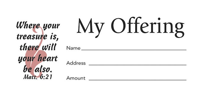 Offering Envelope-My Offering (Matthew 6:21) (Bill-Size)  (Pack Of 100) | SHOPtheWORD