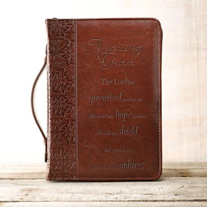 Bible Cover-LuxLeather-Amazing Grace-Large-Brown  | SHOPtheWORD