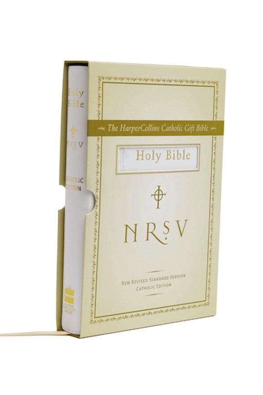 NRSV HarperCollins Catholic Gift Bible-White Imitation Leather | SHOPtheWORD