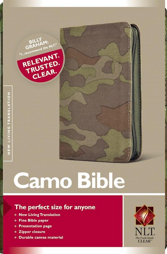 NLT Compact Camo Bible-Zipper-Green Camo Canvas | SHOPtheWORD