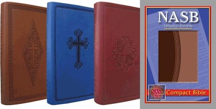 NASB Compact Bible-Blue Cross Leathertex   SHOPtheWORD