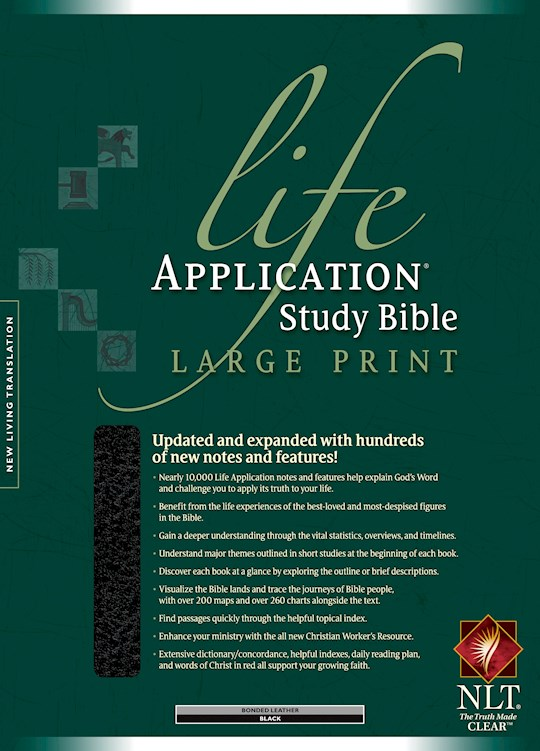 NLT Life Application Study Bible/Large Print-Black Bonded Leather Indexed | SHOPtheWORD