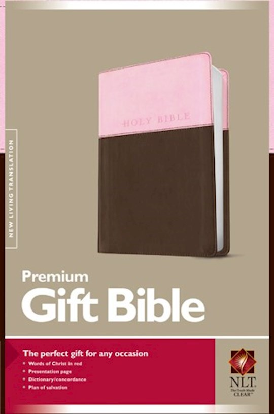 NLT Premium Gift Bible-Pink/Dark Brown TuTone | SHOPtheWORD