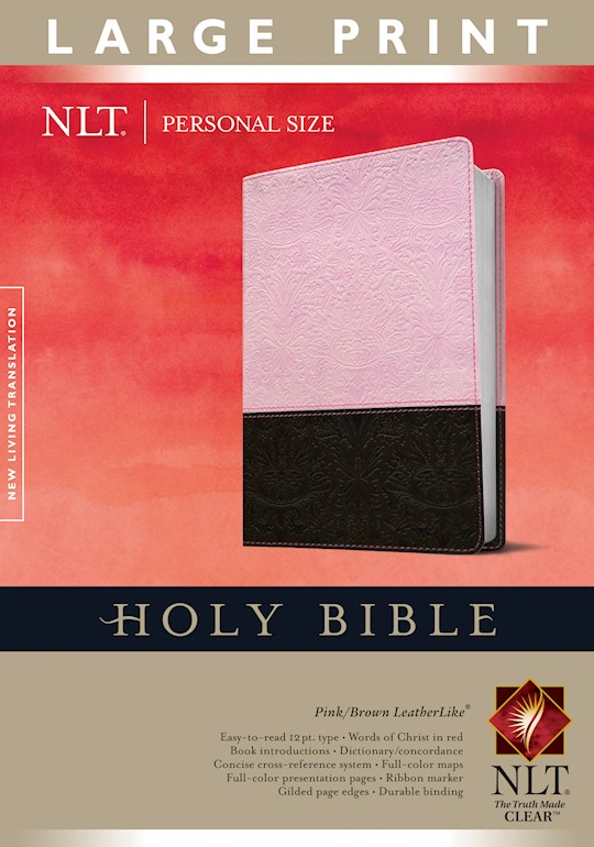 NLT Personal Size Large Print Bible-Pink/Brown TuTone Indexed | SHOPtheWORD