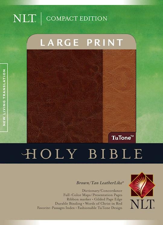 NLT Compact Edition Bible/Large Print-Brown/Tan TuTone Indexed | SHOPtheWORD