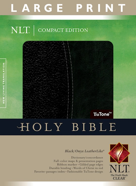 NLT Compact Edition Bible/Large Print-Black/Onyx TuTone Indexed | SHOPtheWORD