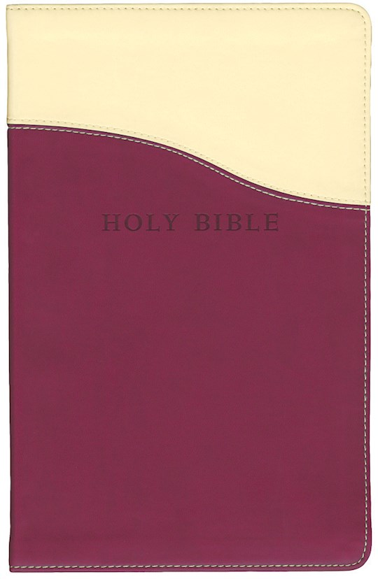 KJV Personal Size Giant Print Reference Bible-Cream/Raspberry Flexisoft (Value Price) | SHOPtheWORD