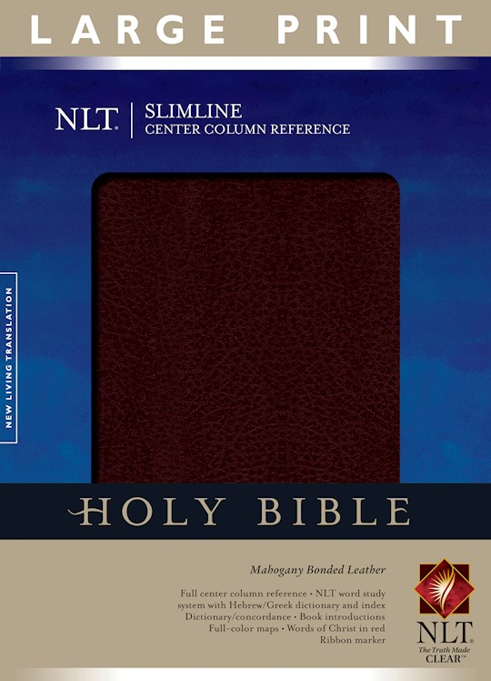 NLT Slimline Center Column Reference/Large Print Bible-Mahogany Bonded Leather (Not Available-Out Of Print) | SHOPtheWORD