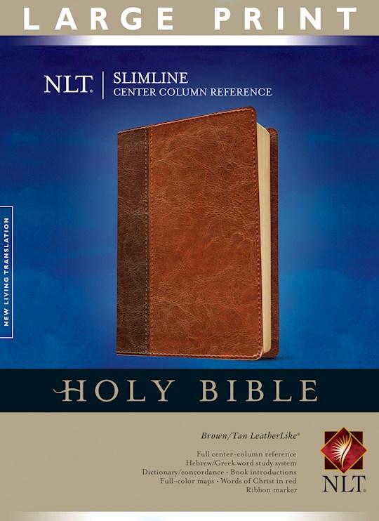 NLT Slimline Center Column Reference/Large Print Bible-Brown/Tan TuTone | SHOPtheWORD