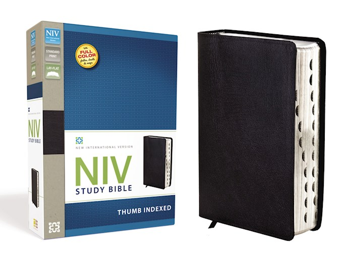 NIV Study Bible-Black Bonded Leather Indexed | SHOPtheWORD