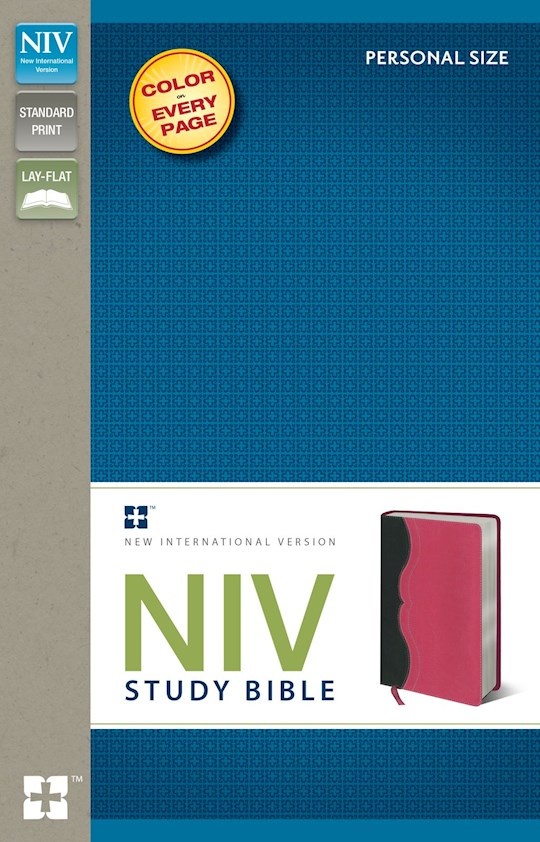 NIV Study Bible/Personal Size-Charcoal/Pink Duo-Tone (Not Available-Out Of Print) | SHOPtheWORD