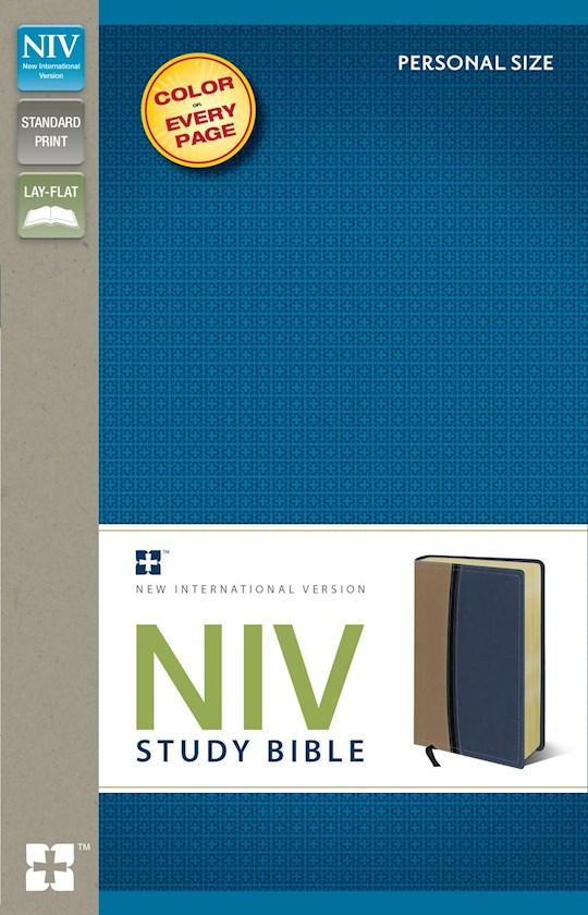 NIV Study Bible/Personal Size-Tan/Blue Duo-Tone | SHOPtheWORD