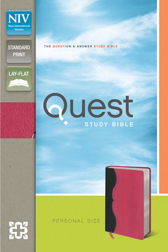NIV Quest Study Bible/Personal Size-Charcoal/Pink Duo-Tone | SHOPtheWORD
