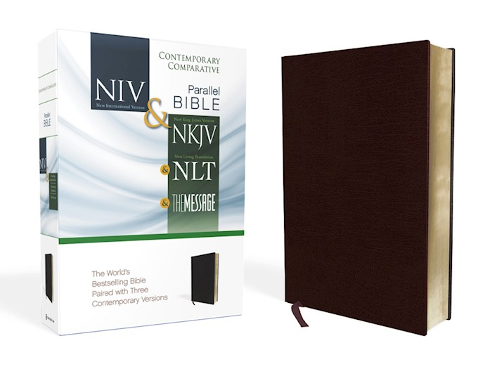 Contemporary Comparative Side-By-Side Bible-NIV/NKJ/NLT/MS-Burgundy Bonded Leather | SHOPtheWORD