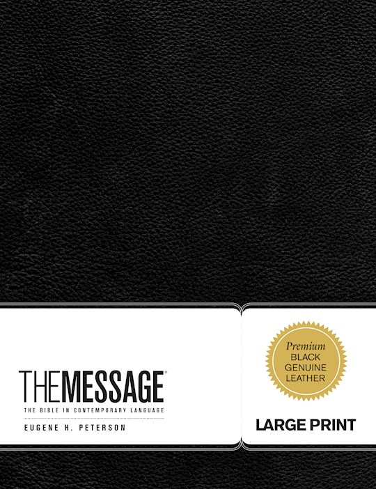 The Message/Large Print Bible (Numbered Edition)-Black Genuine Leather | SHOPtheWORD