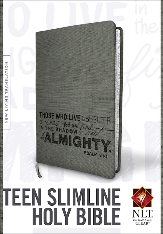 NLT Teen Slimline Bible/Psalm 91-Charcoal TuTone | SHOPtheWORD