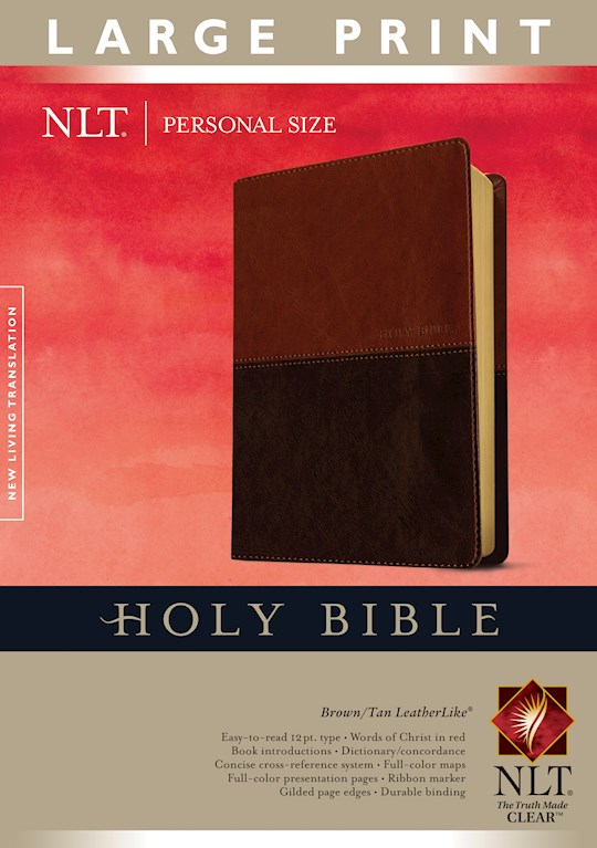 NLT Personal Size Large Print Bible-Brown/Tan TuTone Indexed | SHOPtheWORD