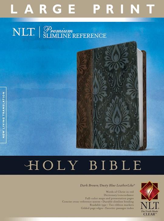 NLT Premium Slimline Reference/Large Print Bible-Dark Brown/Blue TuTone | SHOPtheWORD
