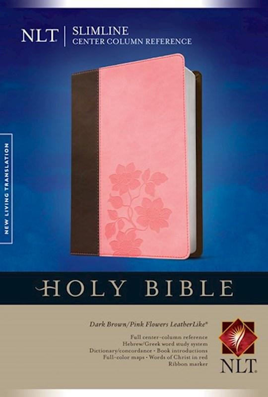 NLT Slimline Center Column Reference Bible-Brown/Pink Flower TuTone | SHOPtheWORD