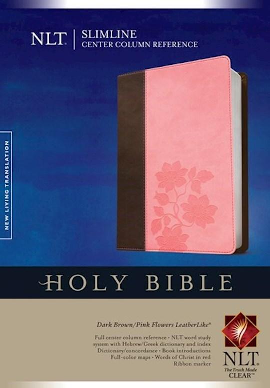 NLT Slimline Center Column Reference Bible-Brown/Pink Flower TuTone Indexed | SHOPtheWORD