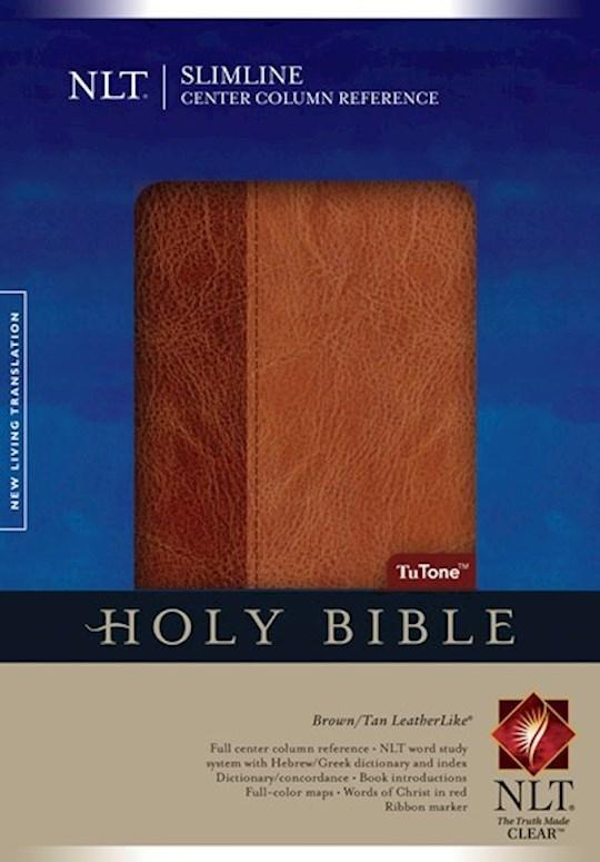 NLT Slimline Center Column Reference Bible-Brown/Tan TuTone Indexed | SHOPtheWORD
