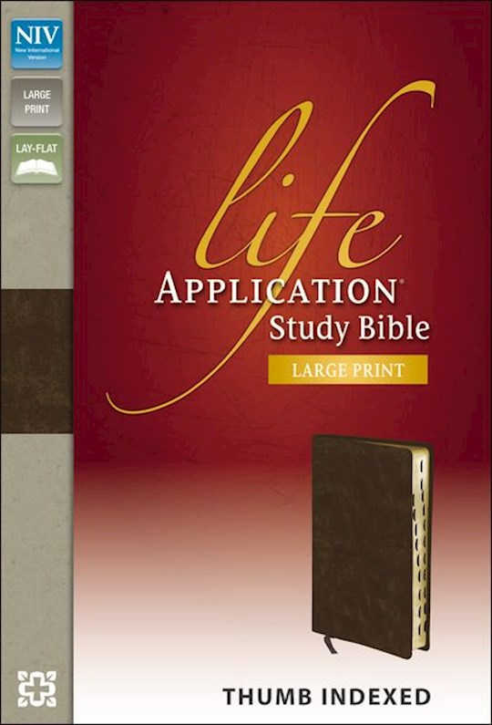 NIV Life Application Study Bible/Large Print-Distressed Brown Bonded Leather Indexed | SHOPtheWORD