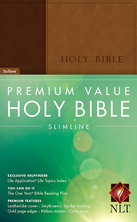 NLT Premium Value Slimline Bible-Brown/Tan TuTone | SHOPtheWORD