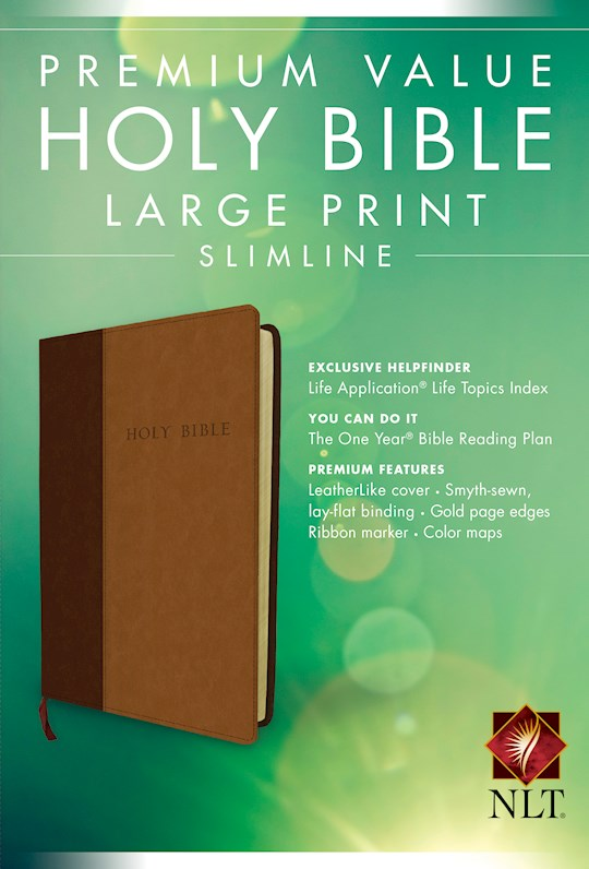 NLT Premium Value Large Print Slimine Bible-Brown/Tan TuTone | SHOPtheWORD