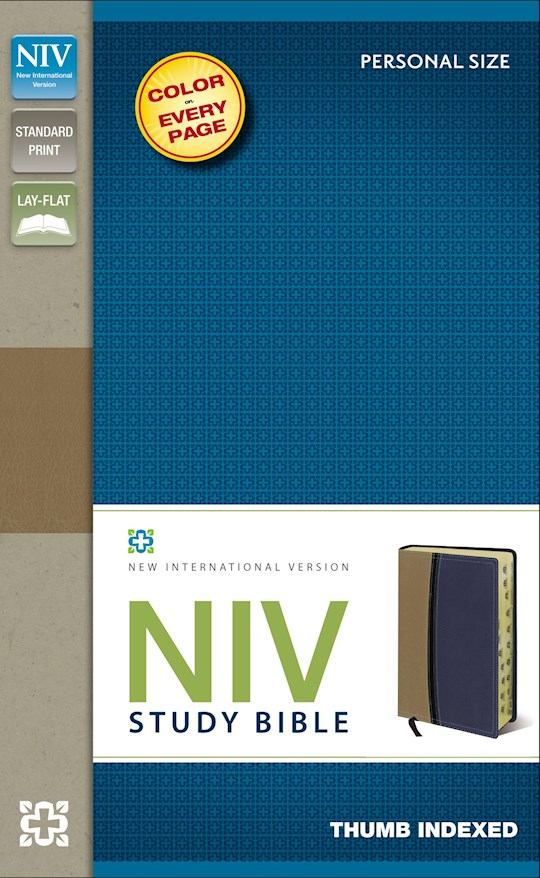NIV Study Bible/Personal Size-Tan/Blue Duo-Tone Indexed | SHOPtheWORD