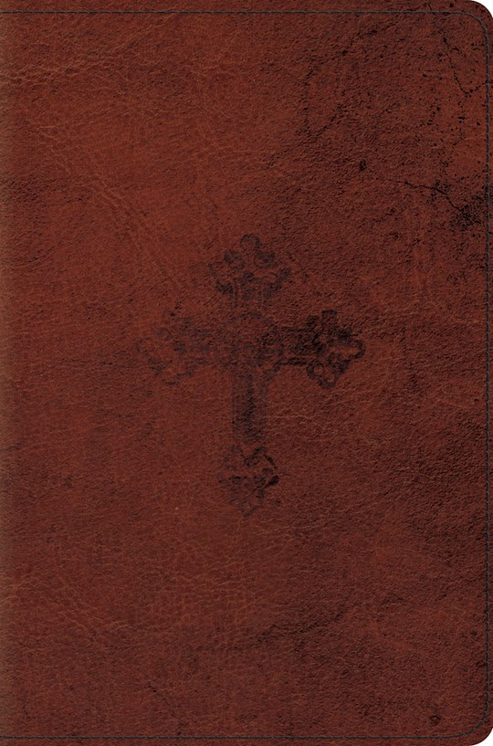 ESV Compact Bible-Walnut Weathered Cross Design TruTone | SHOPtheWORD