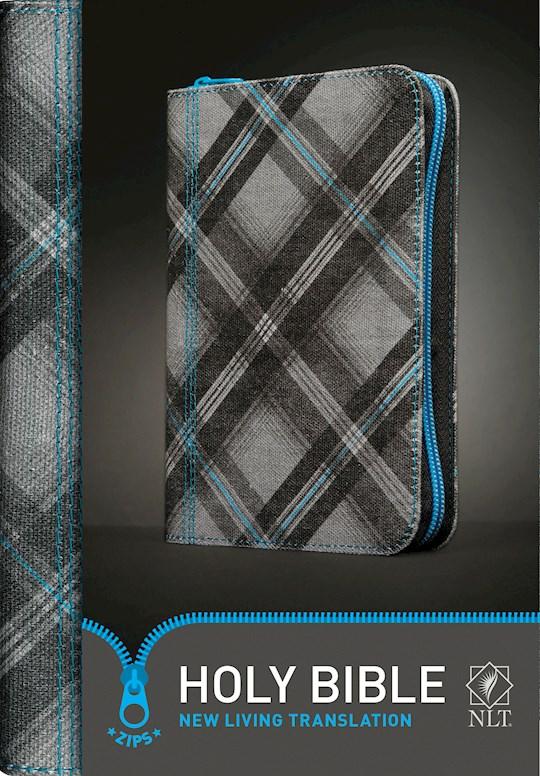 NLT Zips Bible-Canvas Cover w/Blue Zipper   SHOPtheWORD