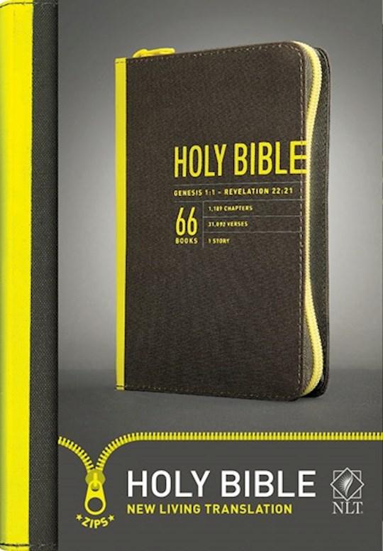 NLT Zips Bible-Canvas Cover W/Yellow Zipper | SHOPtheWORD