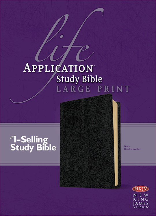 NKJV Life Application Study Bible/Large Print-Black Bonded Leather | SHOPtheWORD