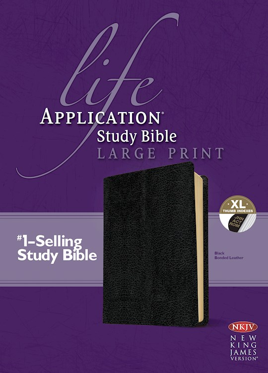 NKJV Life Application Study Bible/Large Print-Black Bonded Leather Indexed | SHOPtheWORD