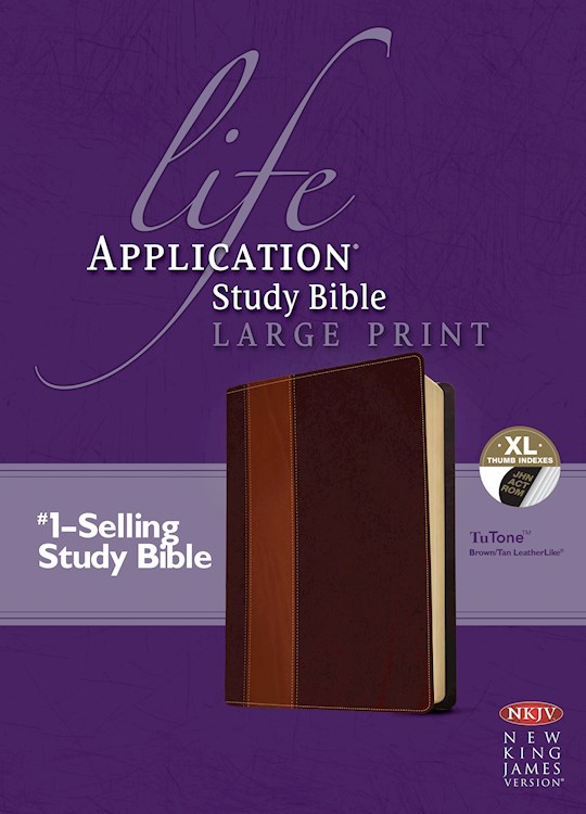 NKJV Life Application Study Bible/Large Print-Brown/Tan TuTone Indexed | SHOPtheWORD
