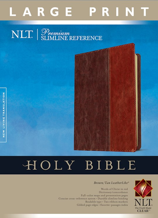 NLT Premium Slimline Reference/Large Print Bible-Burgundy/Brown TuTone Indexed | SHOPtheWORD