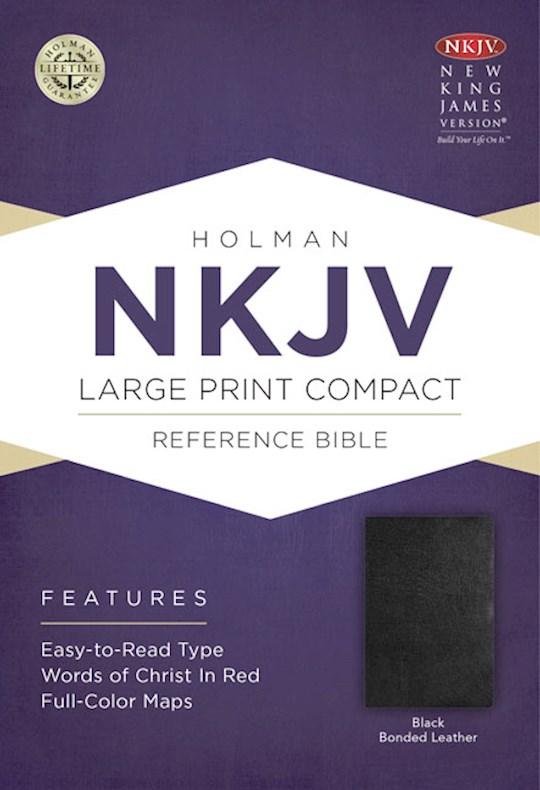 NKJV Large Print Compact Reference Bible-Black Bonded Leather | SHOPtheWORD