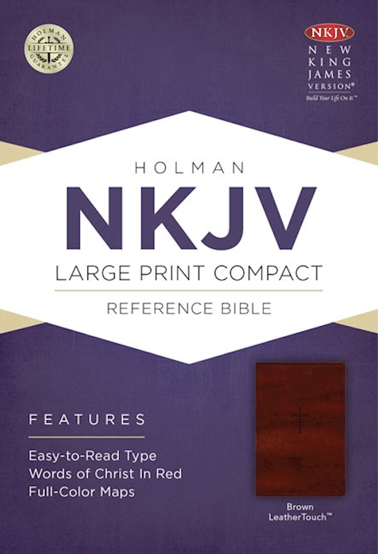 NKJV Large Print Compact Reference Bible-Brown LeatherTouch | SHOPtheWORD