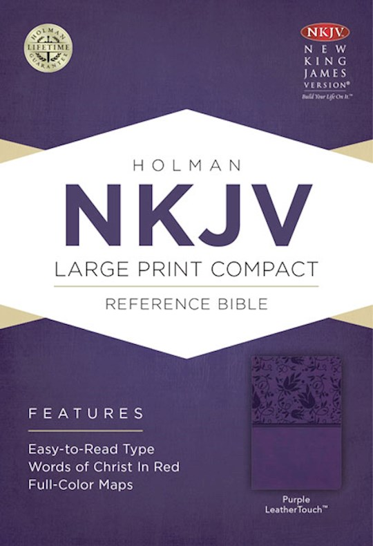 NKJV Large Print Compact Reference Bible-Purple LeatherTouch | SHOPtheWORD