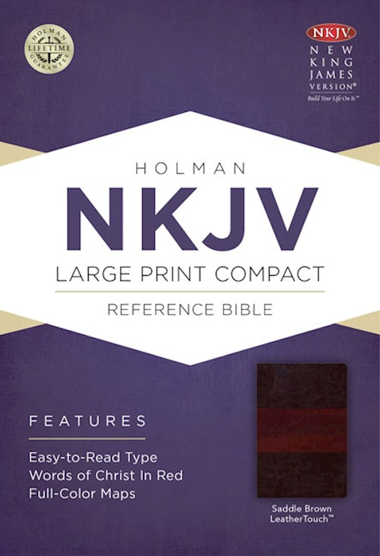 NKJV Large Print Compact Reference Bible-Saddle Brown LeatherTouch | SHOPtheWORD