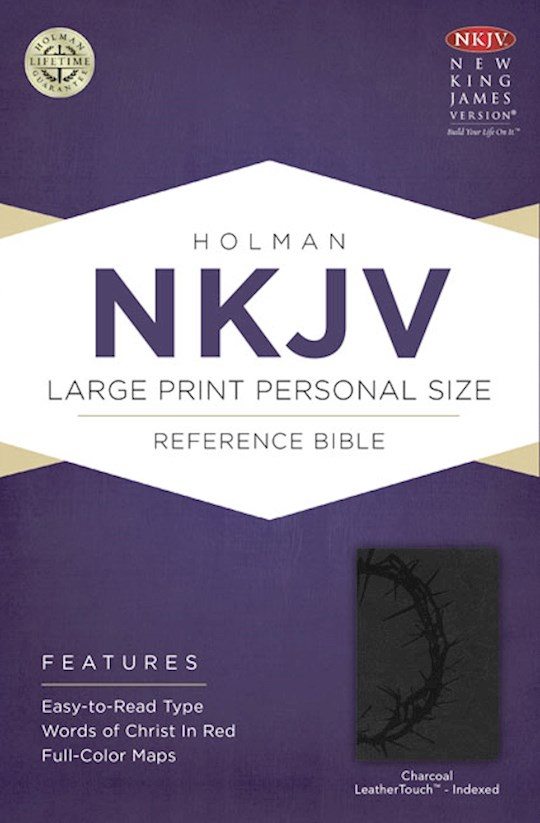 NKJV Large Print Personal Size Reference Bible-Charcoal LeatherTouch Indexed | SHOPtheWORD
