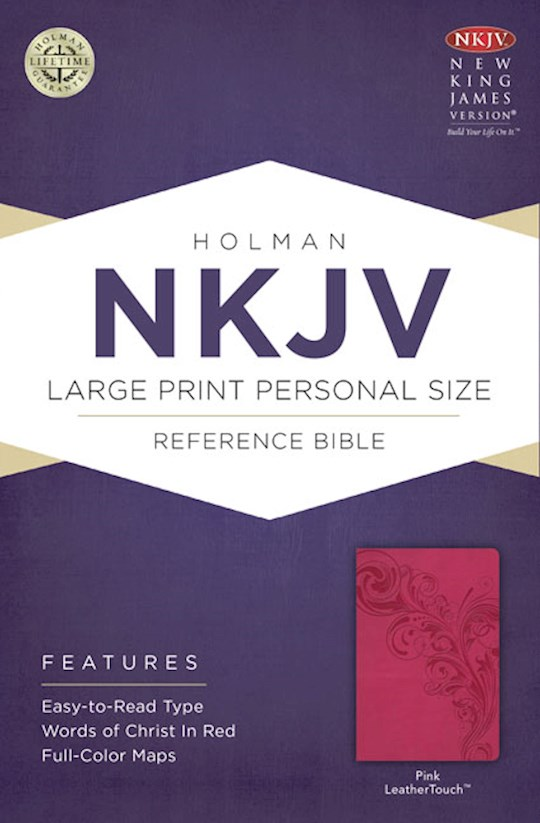 NKJV Large Print Personal Size Reference Bible-Pink LeatherTouch | SHOPtheWORD