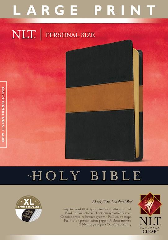 NLT Personal Size Large Print Bible-Black/Tan TuTone Indexed | SHOPtheWORD