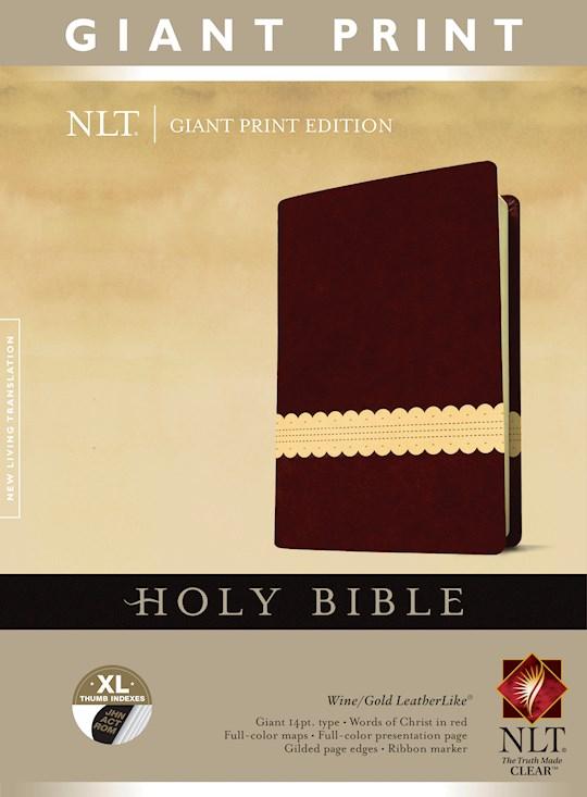 NLT Giant Print Bible-Wine/Gold TuTone Indexed | SHOPtheWORD