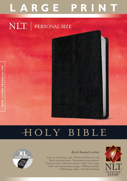 NLT Personal Size Large Print Bible-Black Bonded Leather Indexed | SHOPtheWORD