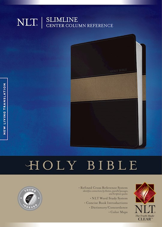 NLT Slimline Center Column Reference Bible-Black/Taupe TuTone Indexed | SHOPtheWORD